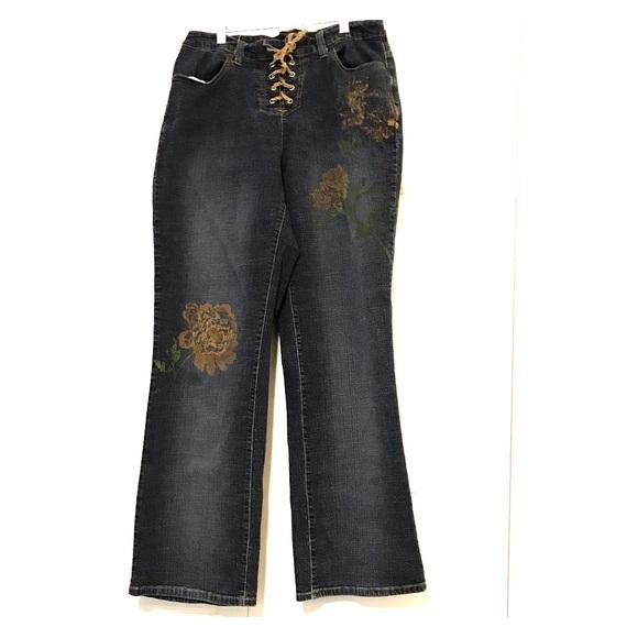 Venezia Denim - Venezia Rope Tie Distressed Pattern Jeans